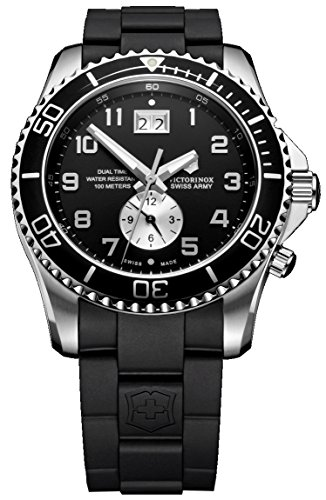 Swiss Army Date Wrist Watch - Victorinox Swiss Army Men's 241440 Maverick GS Dual Time Black Double Date Dial Watch