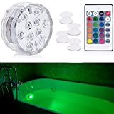 Aurora Submersible Light Remote Controlled, RGB Multi Color waterproof lights idea for Bathtub, Aquarium, Vase Base, Pool Lights,Christmas, Wedding, Party Decorative light 1 pack