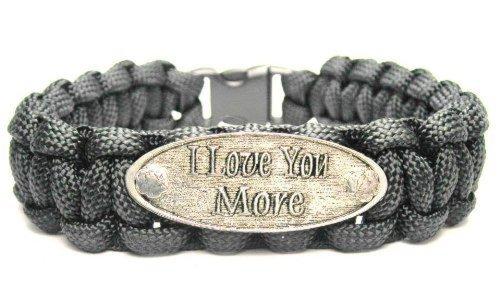 ChubbyChicoCharms I Love You More Black Paracord Pewter Charm Bracelet