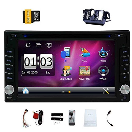 EinCar 6.2 Inch Universal Double 2 Din In Dash Car CD DVD Player GPS Stereo Radio Bluetooth Navigation USB SD Input + Free 8GB Map Card + Reverse Camera
