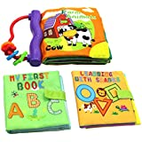 Cloth Books Soft Fabric Book Early Educational Toys Activity Machine Washable Book for Infants Newborn Babies Toddler, Pack of 3.