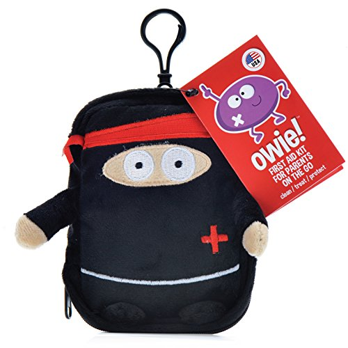 Owie! Ninja Adventure - Small Travel First Aid Kit, Mom's Compact Emergency Essentials, Hangs on Strollers, Backpacks, Perfect for Travel and Outdoor Adventures Baby Shower Gift, Latex (First Aid Gift)