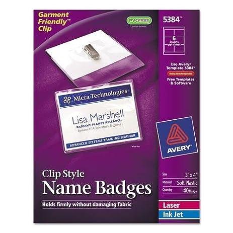Amazon Avery 5384 Badge Holder Kit Wlaserinkjet Insert Top