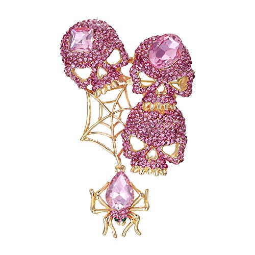 - EVER FAITH Austrian Crystals Halloween Vintage Style Spider Web Skull Brooch Pendant Pink Gold-Tone