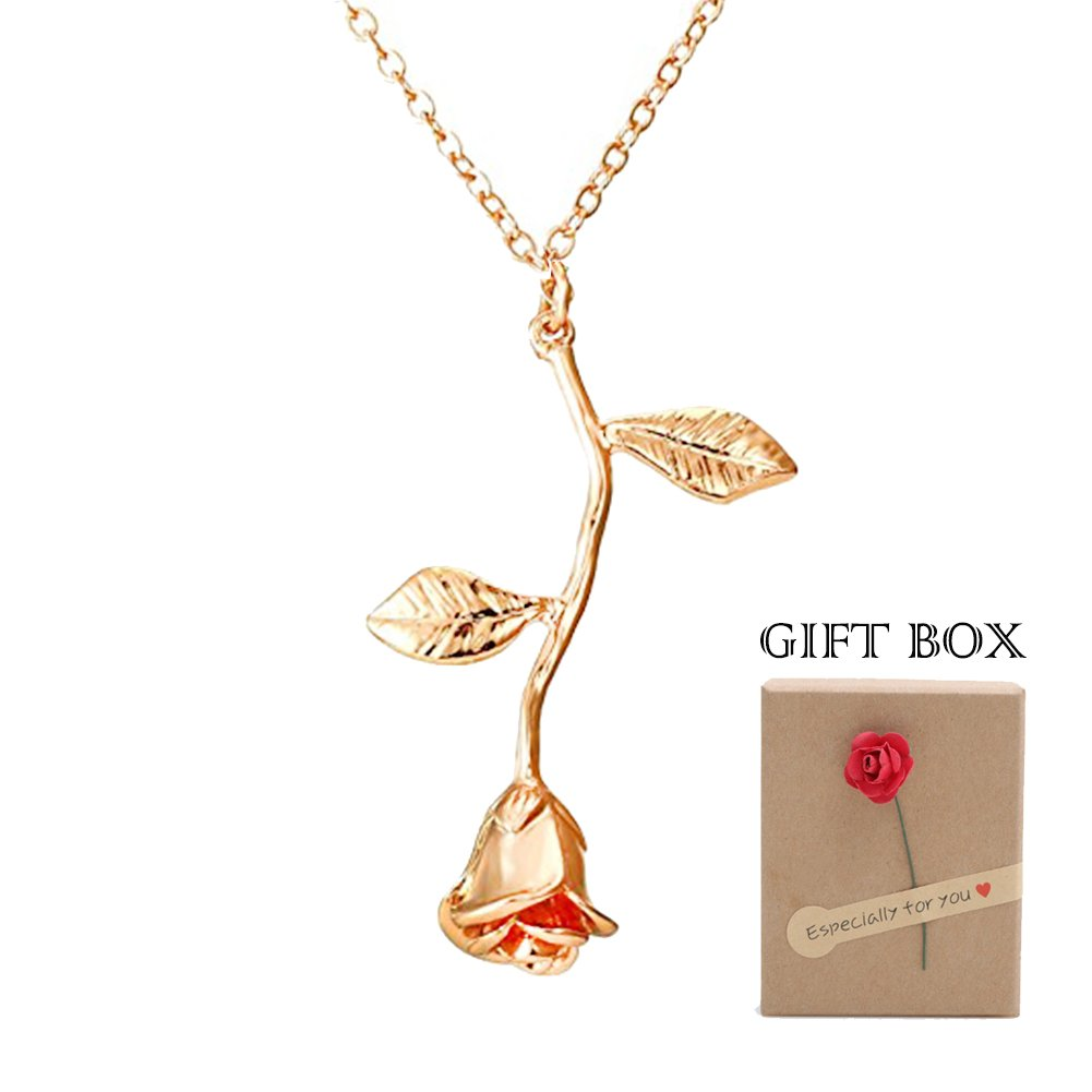 326b7f9e7ee0e Amazon.com: Alodidae Rose Pendant Necklace with Jewelry Gift Box ...