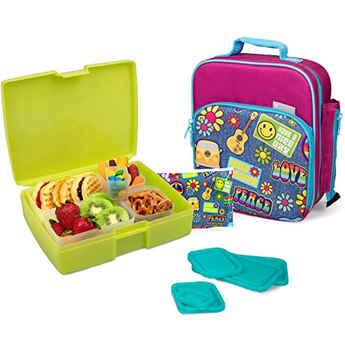 Bentology Lunch Bag and Box Set for Girls - Includes Insulated Durable Tote Bag with Handle and bottle holder, Bento Box, 5 Containers and Ice Pack - BPA & PVC Free (Retro)