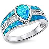 Solid Pear Shape Blue Fire Opal .925 Sterling Silver Ring Size 7