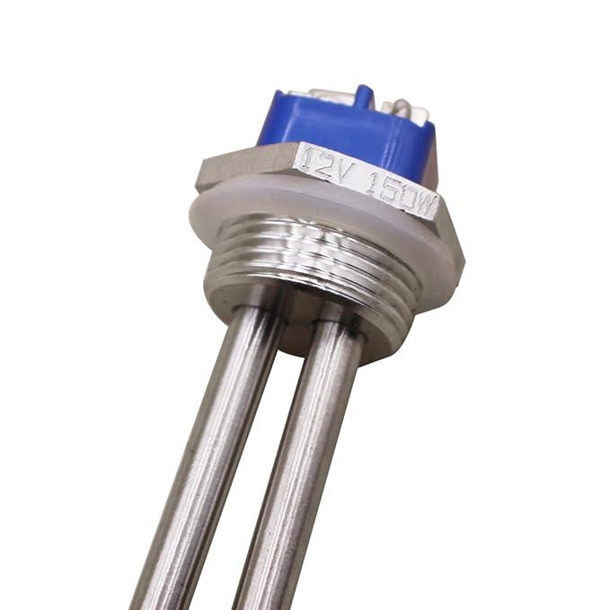 dernord 12 V 150 W calentador de inmersión elemento calentador de agua elemento de calefacción de acero inoxidable sumergible con 1 cm NPT Brida: Amazon.es: ...