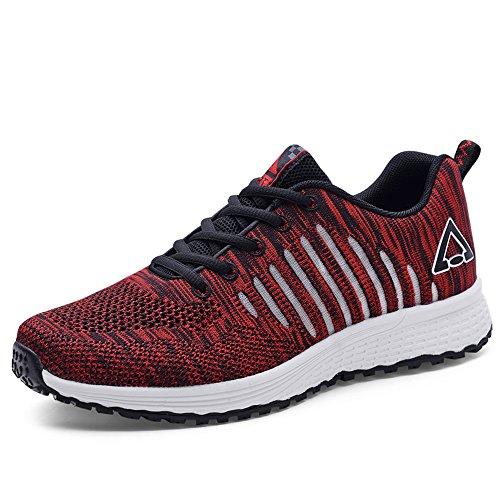 Negras Red1 Hombres Ligeras Zapatillas Transpirables 40 Casual de Zapatillas para Malla 8U7Uv