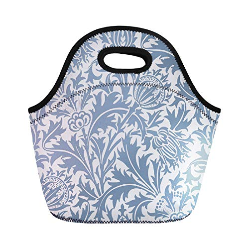 Sophisticated Satin Purse - Semtomn Neoprene Lunch Tote Bag Blue Flowers Floral Modern for Interior Graphic and Pattern Reusable Cooler Bags Insulated Thermal Picnic Handbag for Travel,School,Outdoors, Work