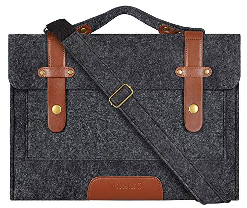 MOSISO Laptop Shoulder Bag Compatible 13-13.3 Inch MacBook Pro, MacBook Air, Notebook Computer, Ultraportable Protective Felt Slim Briefcase Carrying Handbag Sleeve Case Cover, Black