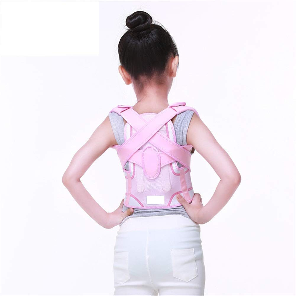 Corrector de postura Pink Posture Corrector, Children and Adolescents Support Brace for Back Shoulder Neck Pain Relief Clavicle Physiotherapy Supplies (Size : S54-64cm)