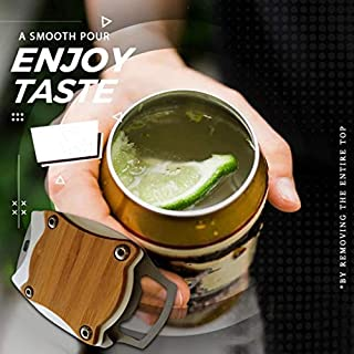 Ussuma Can Opener, Go Swing Topless Can Opener Bar Tool,for Beer/Tin/Bottle, No Sharp Edge Professional Effortless Openers,Safety Easy Manual Can Opener Professional for Household Kitchen (C)