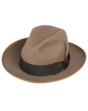 Gangster Fedora Hat in Camel   Tan at Amazon Men s Clothing store  be67395c5bf