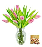 #10: KaBloom Valentine's Day Special: 10 Pink Tulips Fresh from Holland with Vase and One Box of Lindt Chocolates