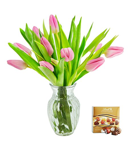 KaBloom Valentine's Day Special: 10 Pink Tulips Fresh from Holland with Vase