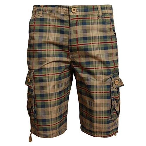 ZhiYuanAN Hombre Shorts Cargo Pantalones De Camuflaje A Cuadros Cortos Deporte Casuales Bermuda Cortos Con Multi-Bolsillo Camuflaje Claro