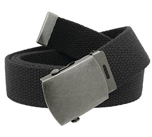 Women's Antique Silver Slider Belt Buckle with Canvas Web Belt Large (Canvas Belt Silver Buckle)