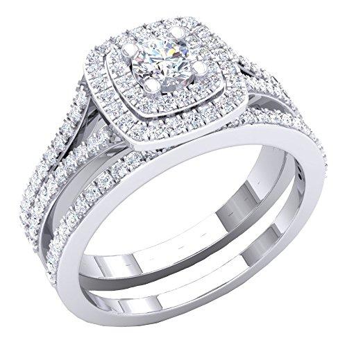 Dazzlingrock Collection 1.50 Carat (ctw) 10K Round Cubic Zirconia Ladies Engagement Ring Set 1 1/2 CT, White Gold, Size 7