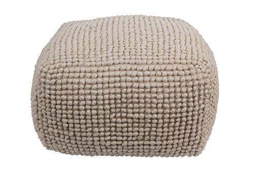 Creative Co-Op Square Wool Beige Pouf, 24x 24 x 16, Cream
