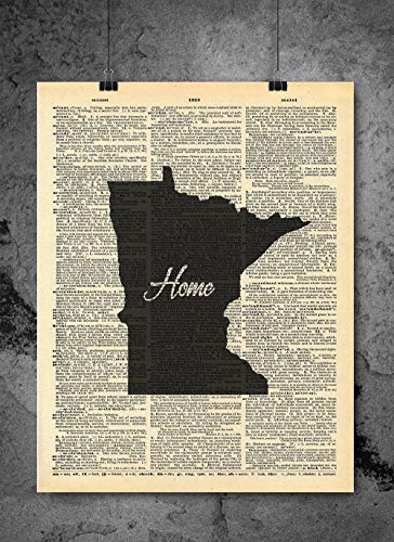Minnesota State Vintage Map Vintage Dictionary Print 8x10 inch Home Vintage Art Abstract Prints Wall Art for Home Decor Wall Decorations For Living Room Bedroom Office Ready-to-Frame Home