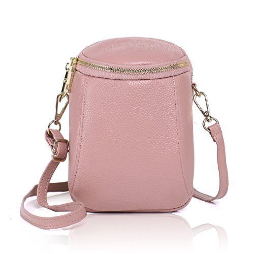 Zg Girls Women 100% Real Leather Small Cute Crossbody Cell Phone Purse Wallet Bag with Shoulder Strap Fits for iPhone 6 7 8 Plus 10 and Samsung Galaxy S7 Edge S9 S10 Plus Note 9 (Best Card Collecting Games Iphone)