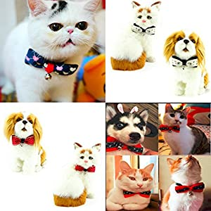 """PETFAVORITES™ Designer Fancy Pattern Dog Cat Pet Bow Tie Collar with Bell and Buckle for Small Dogs Cats Wedding Holiday Costume Accessories, Adjustable Size: 7.1""""-11.8"""", 6 Pack."""