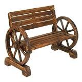 """StealStreet SS-KHD-12690 42.25"""" Outdoor Decor Wagon Wheel Bench"""