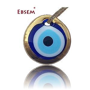 Gold Gilt Handmade Evil Eye Glass Charm decorative Turkish - Greek - Jewish - Christian Christmas ornament (1.5 inches)
