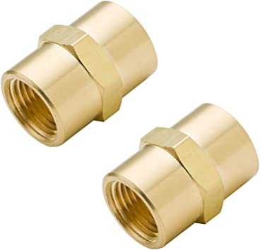 """Full Brass 1//4/"""" Female x 1//4/"""" Female Thread Adapter Connector Pipe Fitting"""