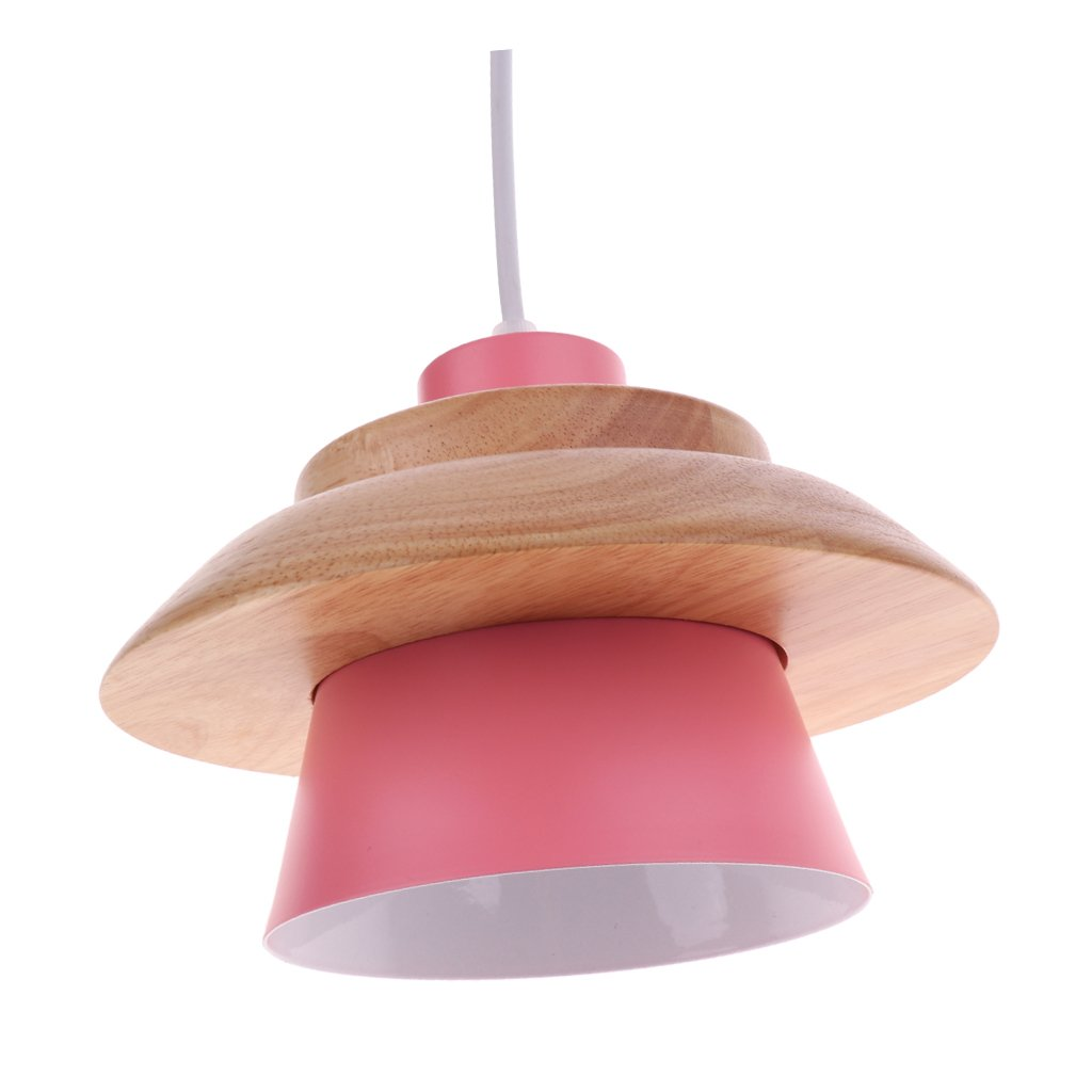 Baosity Small Pendant Lampshade Iron + Wood Standard Lamp Shade for Living Room - Pink