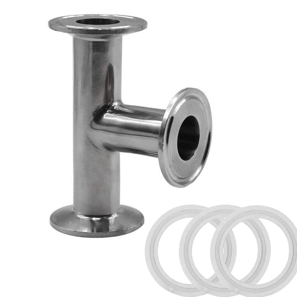 MIKIKI 25mm Pipe OD,3 Way Clamp Tee Sanitary Ferrule Pipe Fitting Stainless Steel 304 Sanitary Fitting Fits 1.5'' Tri-clamp