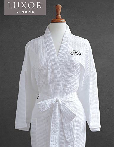 Luxor Linens Mr. & Mrs. Couple's Waffle Weave Bathrobe Set - 100% Egyptian Cotton Unisex/One Size Fits Most Spa Robe Luxurious, Soft, Plush, Elegant Script Embroidery Mrs.