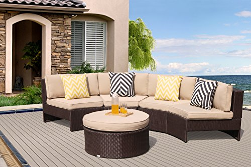 rniture Sectional Sofa Set (5-Piece Set) All-Weather Brown Wicker with Beige Seat Cushions &Storage Table| Patio, Backyard, Pool|Aluminum Frame (Beige Cushions Outdoor Aluminum Patio)