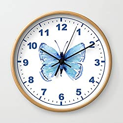 Society6 Blue Butterfly Watercolor Butterflies Animals Wall Clock Natural Frame, Black Hands