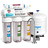 Express Water 5 Stage Under Sink Reverse Osmosis Filtration System 50 GPD RO Membrane Filter Modern Faucet Clear Housing Ultra Safe Residential Home Drinking Water Purification One Year Warranty