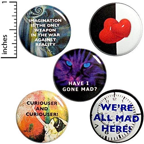 Alice In Wonderland Button 5 Pack We're All Mad Here Backpack Pins 1
