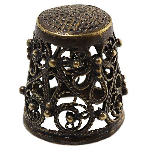 Collectible Thimble Bronze Woven Wire Pattern - Souvenir Thimbles in a Burlap Bag