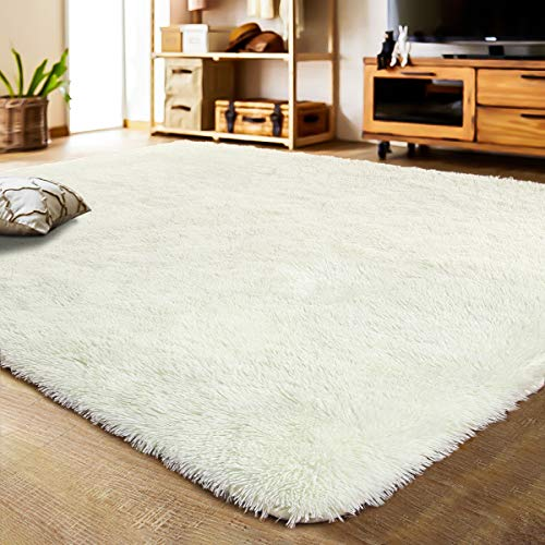 LOCHAS Soft Indoor Modern Area Rugs Fluffy Living Room Carpets Suitable for Children Bedroom Decor Nursery Rugs 4 Feet by 5.3 Feet, Creamy Yellow
