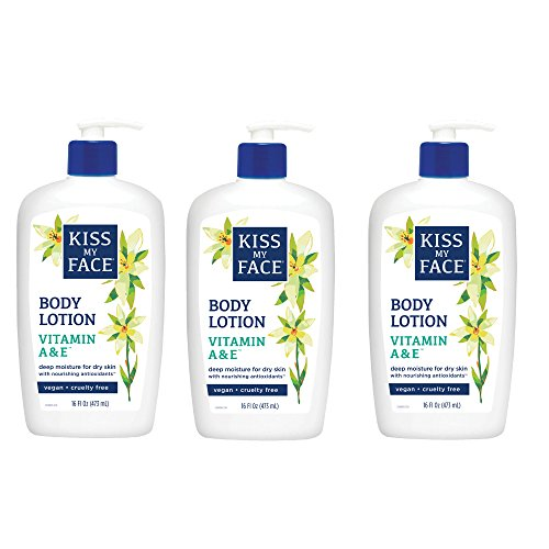 Kiss My Face Vitamin A & E Moisturizer, Body Lotion with Aloe Vera, 16 Ounce, (Pack of 3) Body Lotion Vitamin