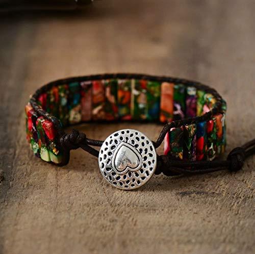 Red Imperial Jasper Agate Tubestone Bracelet in Natural Leather Cord | Red Bohemian Bracelet | Spring Summer Bracelet | Love Bracelet | Xmas Gift Ideas ()