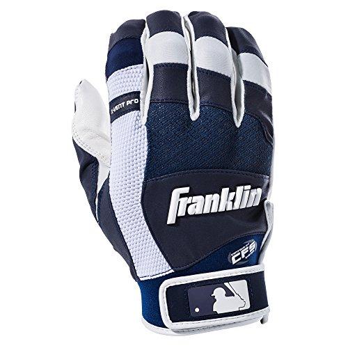 Franklin Sports MLB X-Vent Pro Batting Gloves, White/Navy Adult (Franklin Leather Batting Glove)