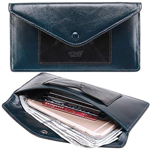 Ultra Thin Envelope - Women's Wallet Leather RFID BLOCKING Ultra Thin Envelope Purse Travel Clutch with ID Card Holder and Phone Pocket