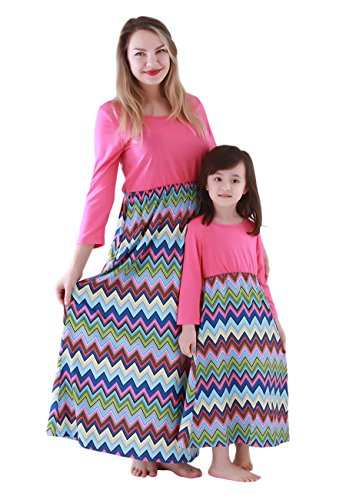 OMZIN Family Matching Clothes Mommy Daughter Stripes Dress Outfit Set Rose 4-5T