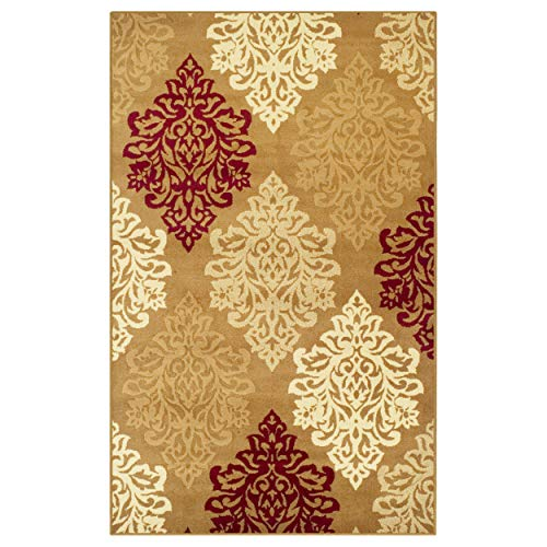 Gold Medallion Collection - Superior Danvers Collection Area Rug, Modern Elegant Damask Pattern, 10mm Pile Height with Jute Backing, Affordable Contemporary Rugs - Brown, 8' x 10' Rug