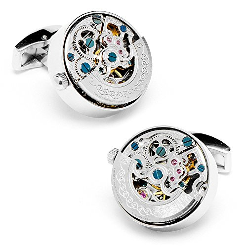 Real Working Watch Movements Cufflinks Functioning Steampunk Cuff Links With Velvet Gift Box  Silver Engraved