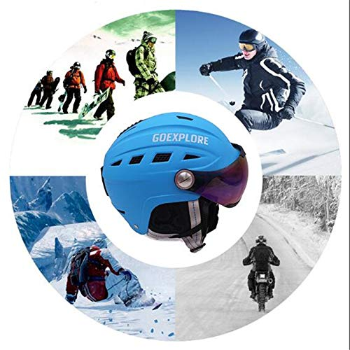XuBa Casco de Esqu/í para Hombres//Mujeres con Visera de Esquiar para Exteriores Cubierto con Medias y Deporte