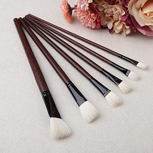 South-Dragon - 6Pcs Flat Painting Brushes Set Artist Wool Hair Watercolor Acrylic Oil Drawing C26