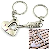 1 Pair Superb Popular Keychain Sweet Couples Love Heart Keyfob Fashion Color Silver