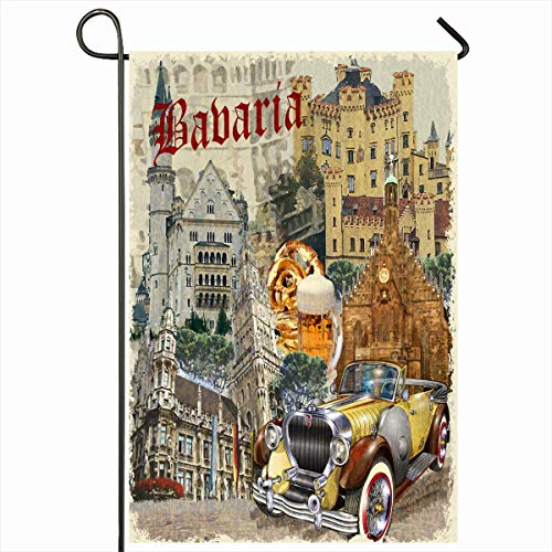 (Ahawoso Outdoor Garden Flag 12x18 Inches Collage Bavarian Germany Bavaria Vintage Sports Recreation Country Beer Retro Travel Greetings Home Decor Seasonal Double Sides House Yard Sign Banner)